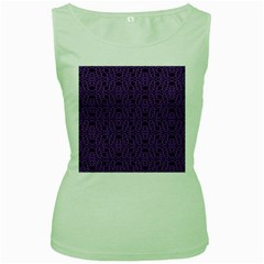 Triangle Knot Purple And Black Fabric Women s Green Tank Top by Zeze