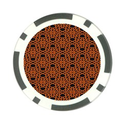 Triangle Knot Orange And Black Fabric Poker Chip Card Guards (10 pack)  by Zeze
