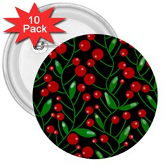 Red Christmas Berries 3  Buttons (10 Pack)  by Valentinaart