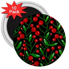 Red Christmas Berries 3  Magnets (10 Pack)  by Valentinaart