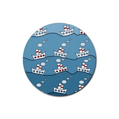 Boats Rubber Coaster (round)  by Valentinaart