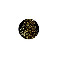 Decorative Starry Christmas Tree Black Gold Elegant Stylish Chic Golden Stars 1  Mini Buttons by yoursparklingshop
