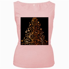 Decorative Starry Christmas Tree Black Gold Elegant Stylish Chic Golden Stars Women s Pink Tank Top by yoursparklingshop
