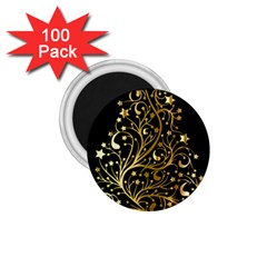 Decorative Starry Christmas Tree Black Gold Elegant Stylish Chic Golden Stars 1 75  Magnets (100 Pack)  by yoursparklingshop