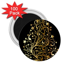 Decorative Starry Christmas Tree Black Gold Elegant Stylish Chic Golden Stars 2 25  Magnets (100 Pack)  by yoursparklingshop