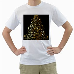 Decorative Starry Christmas Tree Black Gold Elegant Stylish Chic Golden Stars Men s T Shirt (white) (two Sided) by yoursparklingshop
