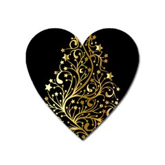 Decorative Starry Christmas Tree Black Gold Elegant Stylish Chic Golden Stars Heart Magnet by yoursparklingshop