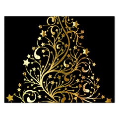 Decorative Starry Christmas Tree Black Gold Elegant Stylish Chic Golden Stars Rectangular Jigsaw Puzzl by yoursparklingshop