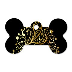 Decorative Starry Christmas Tree Black Gold Elegant Stylish Chic Golden Stars Dog Tag Bone (one Side) by yoursparklingshop