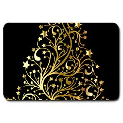 Decorative Starry Christmas Tree Black Gold Elegant Stylish Chic Golden Stars Large Doormat  by yoursparklingshop