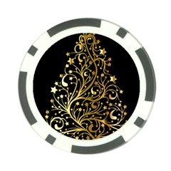 Decorative Starry Christmas Tree Black Gold Elegant Stylish Chic Golden Stars Poker Chip Card Guards by yoursparklingshop