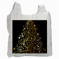 Decorative Starry Christmas Tree Black Gold Elegant Stylish Chic Golden Stars Recycle Bag (one Side) by yoursparklingshop
