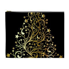 Decorative Starry Christmas Tree Black Gold Elegant Stylish Chic Golden Stars Cosmetic Bag (xl) by yoursparklingshop