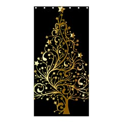Decorative Starry Christmas Tree Black Gold Elegant Stylish Chic Golden Stars Shower Curtain 36  x 72  (Stall)  by yoursparklingshop