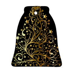 Decorative Starry Christmas Tree Black Gold Elegant Stylish Chic Golden Stars Bell Ornament (2 Sides) by yoursparklingshop