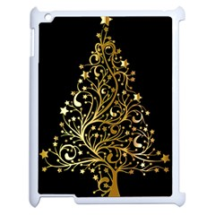 Decorative Starry Christmas Tree Black Gold Elegant Stylish Chic Golden Stars Apple Ipad 2 Case (white) by yoursparklingshop