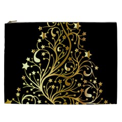 Decorative Starry Christmas Tree Black Gold Elegant Stylish Chic Golden Stars Cosmetic Bag (xxl)  by yoursparklingshop