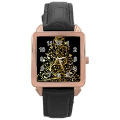 Decorative Starry Christmas Tree Black Gold Elegant Stylish Chic Golden Stars Rose Gold Leather Watch  by yoursparklingshop