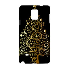 Decorative Starry Christmas Tree Black Gold Elegant Stylish Chic Golden Stars Samsung Galaxy Note 4 Hardshell Case by yoursparklingshop