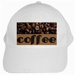 Funny Coffee Beans Brown Typography White Cap by yoursparklingshop