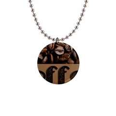 Funny Coffee Beans Brown Typography Button Necklaces by yoursparklingshop