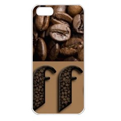Funny Coffee Beans Brown Typography Apple Iphone 5 Seamless Case (white) by yoursparklingshop