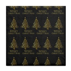 Merry Christmas Tree Typography Black And Gold Festive Tile Coasters by yoursparklingshop