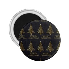 Merry Christmas Tree Typography Black And Gold Festive 2 25  Magnets by yoursparklingshop