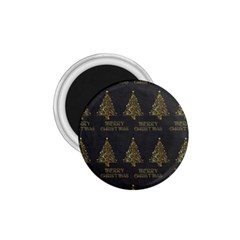 Merry Christmas Tree Typography Black And Gold Festive 1 75  Magnets by yoursparklingshop