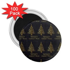 Merry Christmas Tree Typography Black And Gold Festive 2 25  Magnets (100 Pack)  by yoursparklingshop