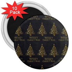 Merry Christmas Tree Typography Black And Gold Festive 3  Magnets (10 Pack)  by yoursparklingshop