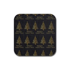 Merry Christmas Tree Typography Black And Gold Festive Rubber Square Coaster (4 Pack)  by yoursparklingshop