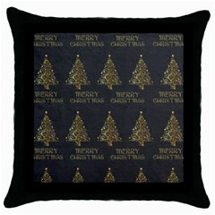 Merry Christmas Tree Typography Black And Gold Festive Throw Pillow Case (black) by yoursparklingshop