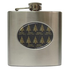 Merry Christmas Tree Typography Black And Gold Festive Hip Flask (6 Oz) by yoursparklingshop
