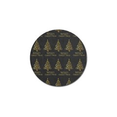 Merry Christmas Tree Typography Black And Gold Festive Golf Ball Marker (10 Pack) by yoursparklingshop