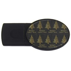 Merry Christmas Tree Typography Black And Gold Festive Usb Flash Drive Oval (2 Gb)  by yoursparklingshop