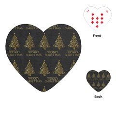 Merry Christmas Tree Typography Black And Gold Festive Playing Cards (heart)  by yoursparklingshop