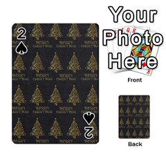 Merry Christmas Tree Typography Black And Gold Festive Playing Cards 54 Designs  by yoursparklingshop