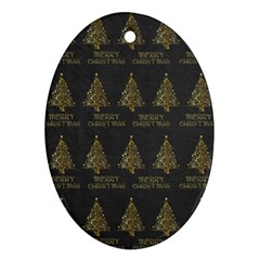 Merry Christmas Tree Typography Black And Gold Festive Oval Ornament (two Sides) by yoursparklingshop