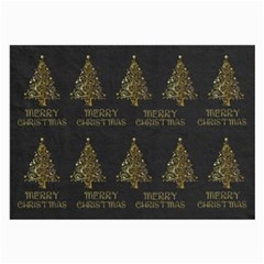 Merry Christmas Tree Typography Black And Gold Festive Large Glasses Cloth (2 Side) by yoursparklingshop