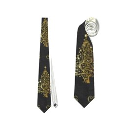 Merry Christmas Tree Typography Black And Gold Festive Neckties (two Side)  by yoursparklingshop