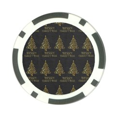 Merry Christmas Tree Typography Black And Gold Festive Poker Chip Card Guards by yoursparklingshop