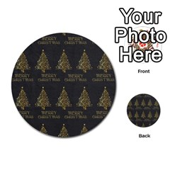 Merry Christmas Tree Typography Black And Gold Festive Multi Purpose Cards (round)  by yoursparklingshop