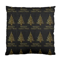Merry Christmas Tree Typography Black And Gold Festive Standard Cushion Case (two Sides) by yoursparklingshop