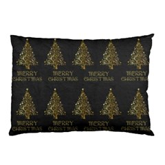 Merry Christmas Tree Typography Black And Gold Festive Pillow Case by yoursparklingshop