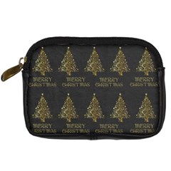 Merry Christmas Tree Typography Black And Gold Festive Digital Camera Cases by yoursparklingshop