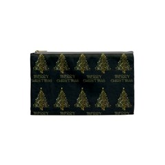 Merry Christmas Tree Typography Black And Gold Festive Cosmetic Bag (small)  by yoursparklingshop