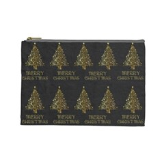Merry Christmas Tree Typography Black And Gold Festive Cosmetic Bag (large)  by yoursparklingshop