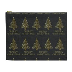 Merry Christmas Tree Typography Black And Gold Festive Cosmetic Bag (xl) by yoursparklingshop