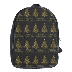 Merry Christmas Tree Typography Black And Gold Festive School Bags(large)  by yoursparklingshop
